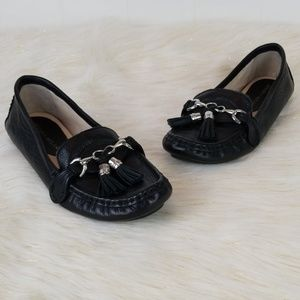 Antonio Melani size 7 leather black loafers tassel